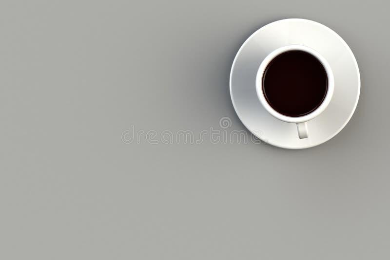 Έννοια καφέ πρωινού στο γκρίζο υπόβαθρο, τοπ άποψη με το copyspace για το κείμενό σας στοκ εικόνες