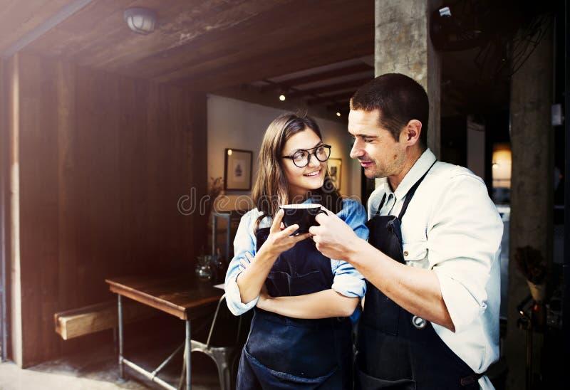 Έννοια καφετεριών εργασίας συνεργατών Barista στοκ εικόνα με δικαίωμα ελεύθερης χρήσης