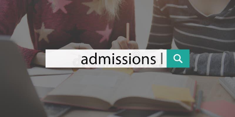 Έννοια κειμένων εκμάθησης εισόδων εκπαίδευσης κολλεγίου αποδοχής στοκ εικόνες