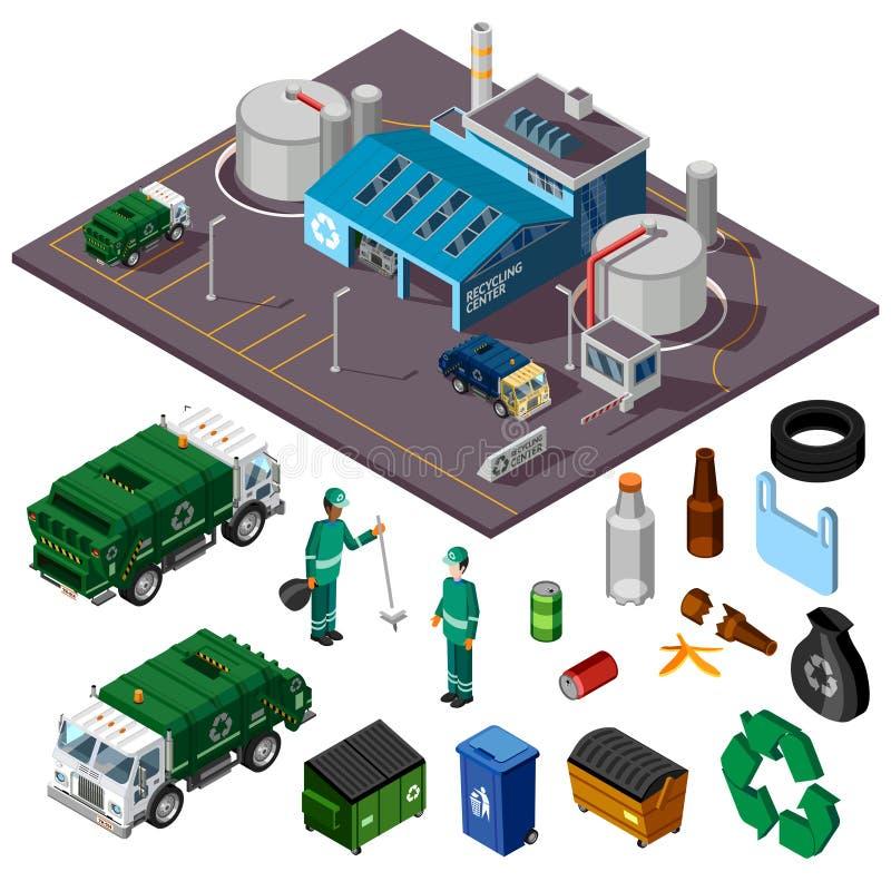 Έννοια κεντρικού Isometric σχεδίου ανακύκλωσης απεικόνιση αποθεμάτων