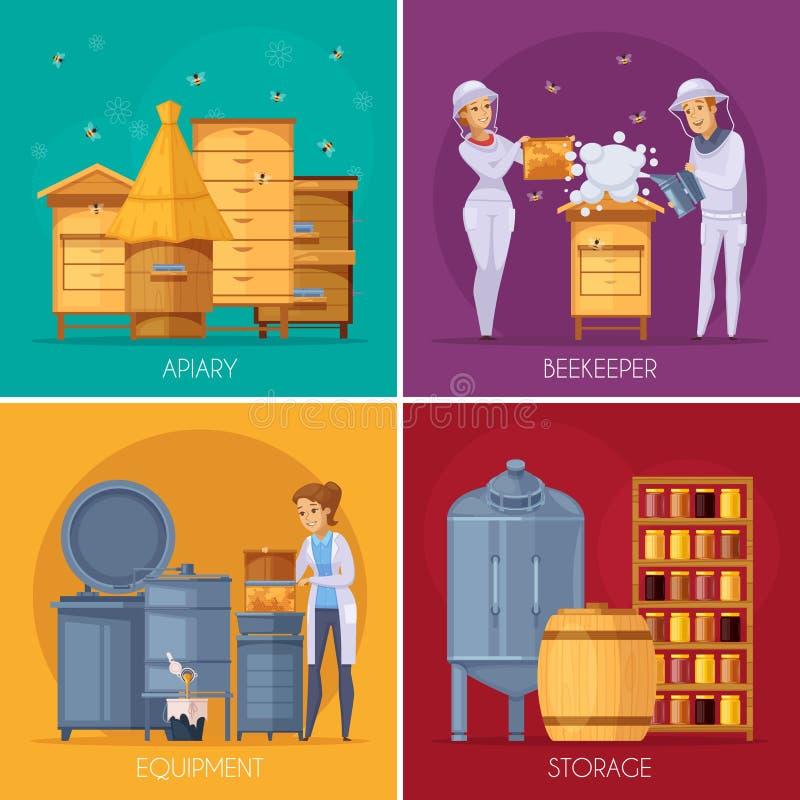 Έννοια κινούμενων σχεδίων παραγωγής μελιού μελισσουργείων διανυσματική απεικόνιση