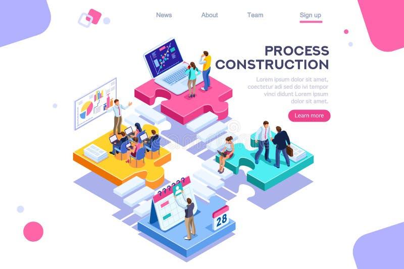 Έννοια κοινής επιχείρησης κατασκευής διαδικασίας υποστήριξης ελεύθερη απεικόνιση δικαιώματος