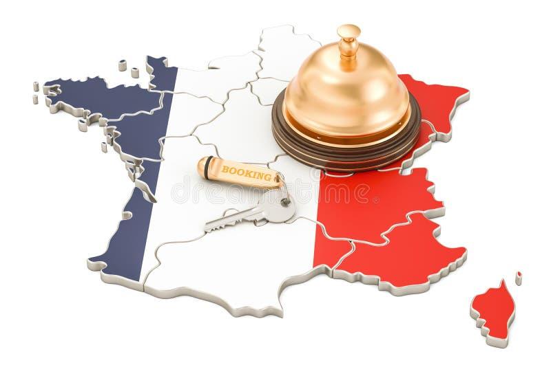 Έννοια κράτησης της Γαλλίας Γαλλική σημαία με το κλειδί και την υποδοχή ξενοδοχείων απεικόνιση αποθεμάτων