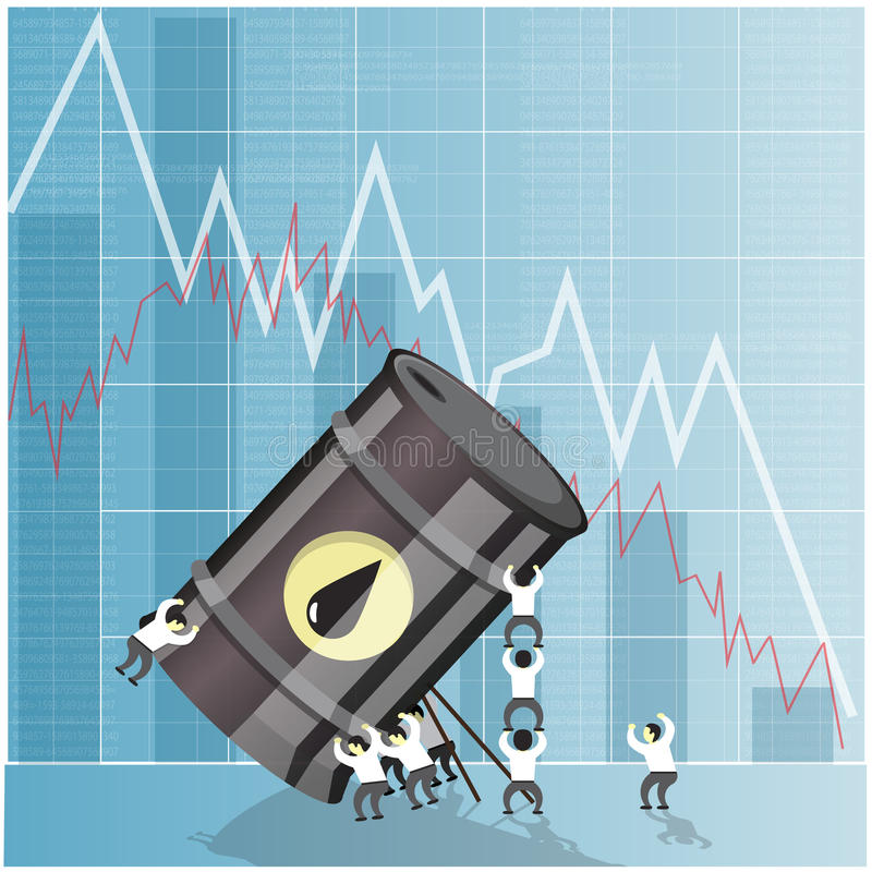 Έννοια κρίσης βιομηχανίας πετρελαίου Πτώση στο αργό πετρέλαιο διανυσματική απεικόνιση