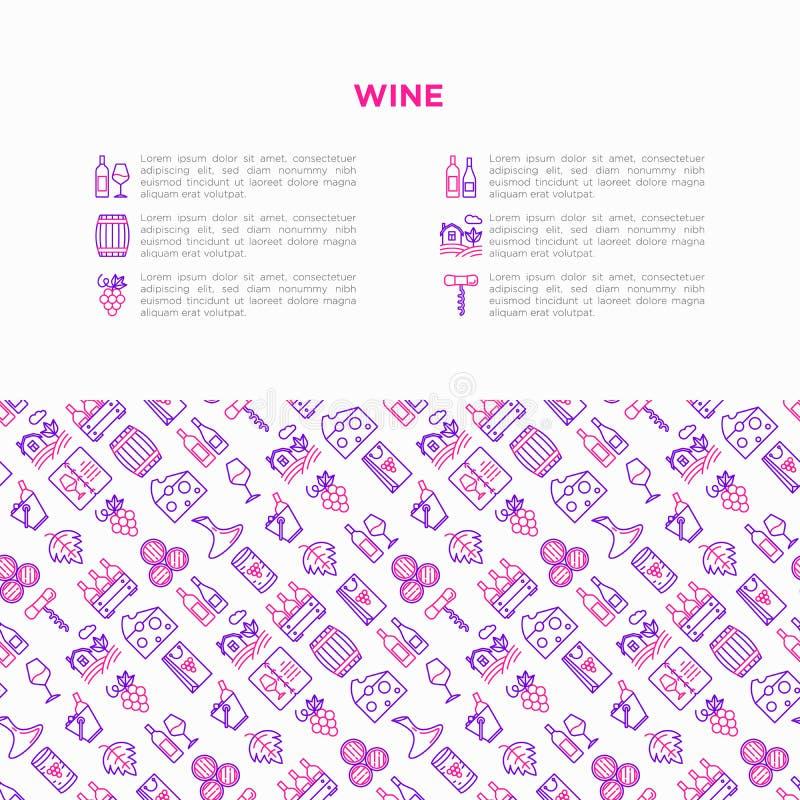 Έννοια κρασιού με τα λεπτά εικονίδια γραμμών: ανοιχτήρι, γυαλί κρασιού, φελλός, σταφύλια, βαρέλι, κατάλογος, καράφα, τυρί, αμπελώ απεικόνιση αποθεμάτων