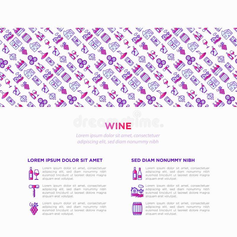 Έννοια κρασιού με τα λεπτά εικονίδια γραμμών: ανοιχτήρι, γυαλί κρασιού, φελλός, σταφύλια, βαρέλι, κατάλογος, καράφα, τυρί, αμπελώ ελεύθερη απεικόνιση δικαιώματος