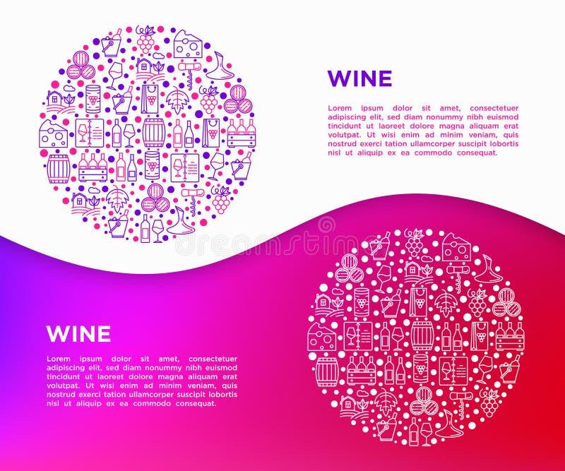 Έννοια κρασιού στον κύκλο με τα λεπτά εικονίδια γραμμών: ανοιχτήρι, γυαλί κρασιού, φελλός, σταφύλια, βαρέλι, κατάλογος, καράφα, τ απεικόνιση αποθεμάτων