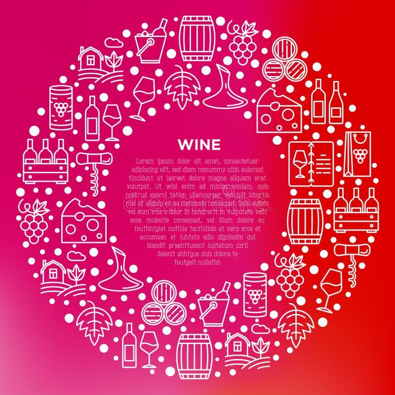 Έννοια κρασιού στον κύκλο με τα λεπτά εικονίδια γραμμών: ανοιχτήρι, γυαλί κρασιού, φελλός, σταφύλια, βαρέλι, κατάλογος, καράφα, τ διανυσματική απεικόνιση