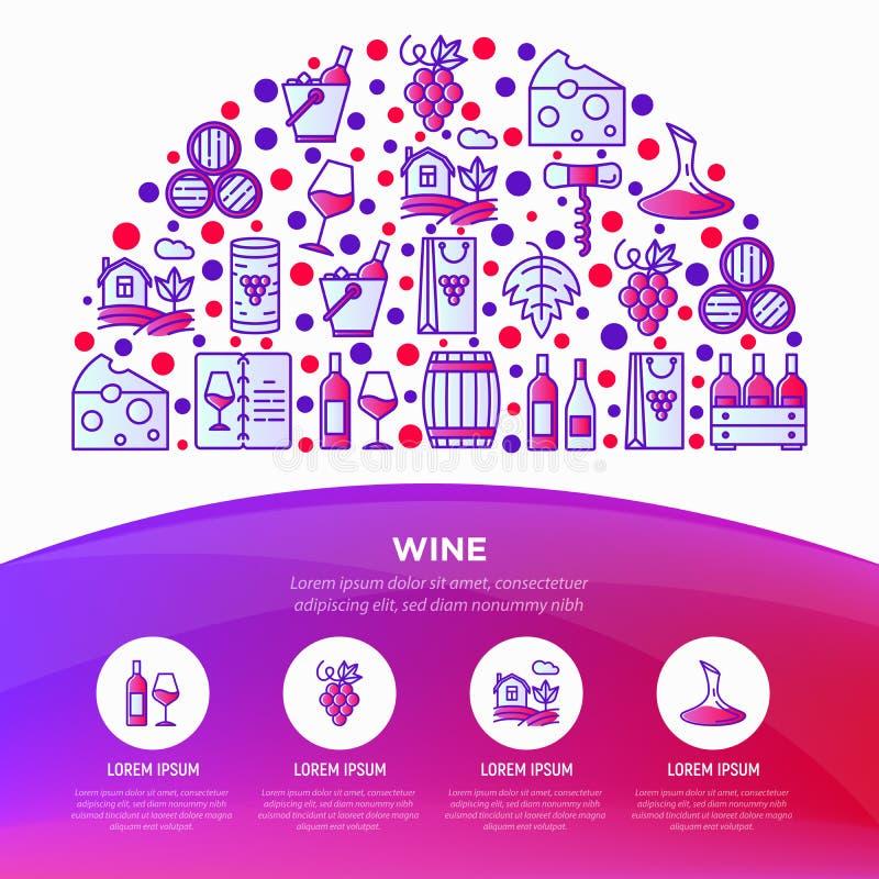 Έννοια κρασιού στο μισό κύκλο με τα λεπτά εικονίδια γραμμών: ανοιχτήρι, γυαλί κρασιού, φελλός, σταφύλια, βαρέλι, κατάλογος, καράφ ελεύθερη απεικόνιση δικαιώματος