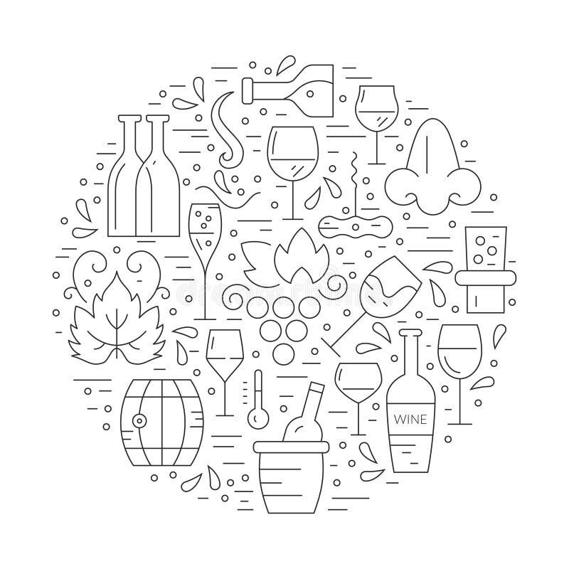 Έννοια κρασιού διανυσματική απεικόνιση
