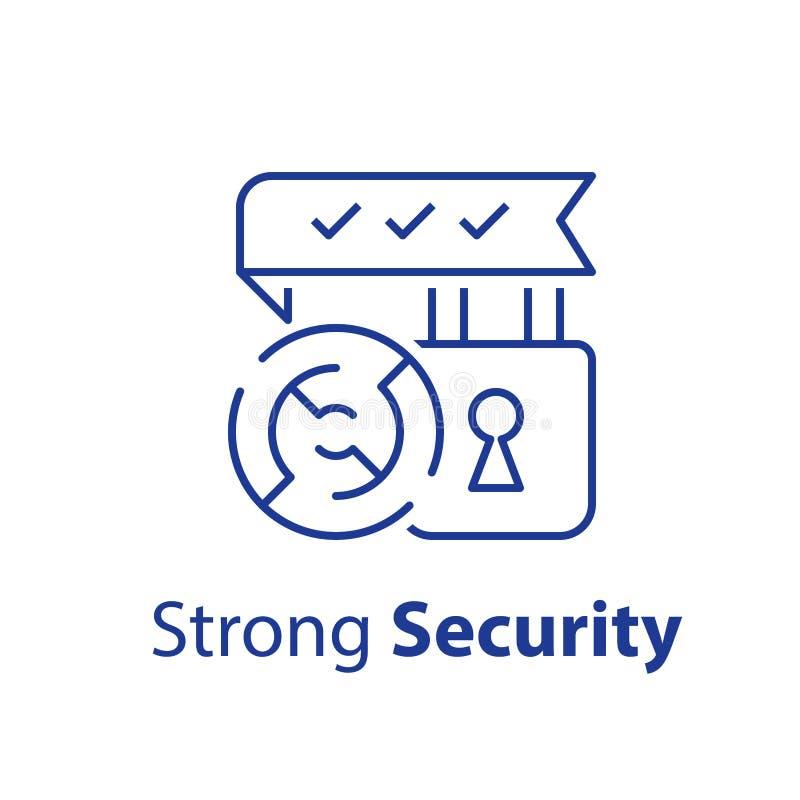Έννοια κρυπτογράφησης, ισχυρή ασφάλεια, λουκέτο και στρογγυλός λαβύρινθος, αξιόπιστη προστασία απεικόνιση αποθεμάτων