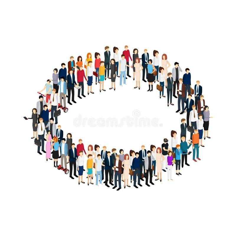 Έννοια κύκλων επιχειρηματιών της Isometric άποψης κοινωνίας που απομονώνεται στο λευκό διάνυσμα διανυσματική απεικόνιση