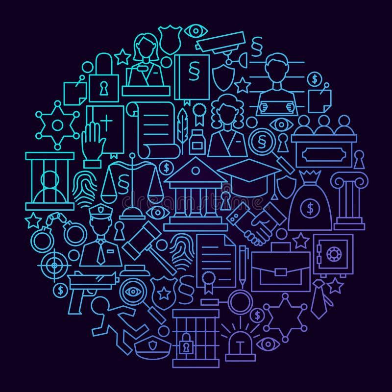 Έννοια κύκλων εικονιδίων γραμμών νόμου διανυσματική απεικόνιση