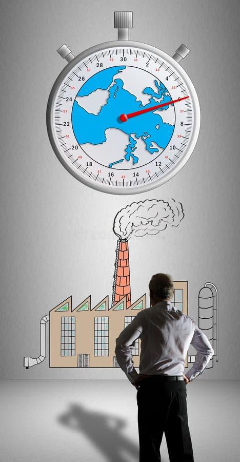 Έννοια κλιματικής αλλαγής από ένας επιχειρηματίας που προσέχει απεικόνιση αποθεμάτων