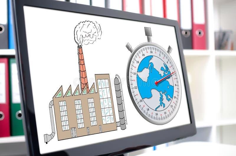 Έννοια κλιματικής αλλαγής σε μια οθόνη υπολογιστή ελεύθερη απεικόνιση δικαιώματος