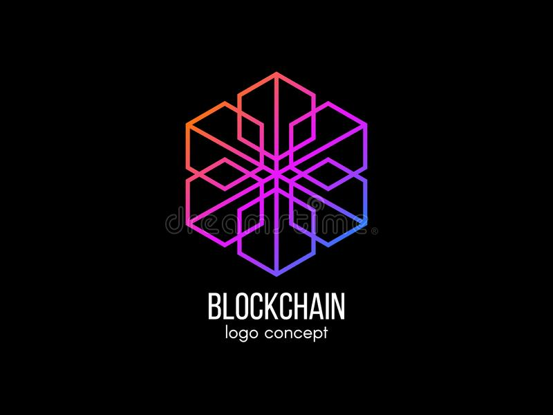 Έννοια λογότυπων Blockchain Σύγχρονο σχέδιο τεχνολογίας Κύβος χρώματος logotype Cryptocurrency και bitcoin ετικέτα Ψηφιακά χρήματ διανυσματική απεικόνιση