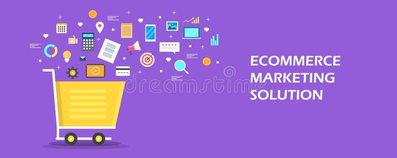 Έννοια λύσης μάρκετινγκ ηλεκτρονικού εμπορίου Ψηφιακά εικονίδια μάρκετινγκ που προέρχονται από ένα κάρρο αγορών Επίπεδο διανυσματ απεικόνιση αποθεμάτων