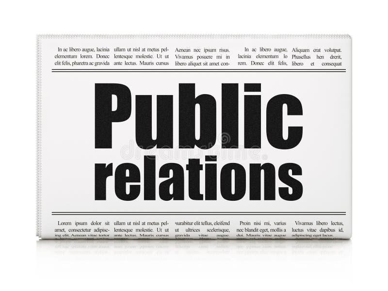 Έννοια μάρκετινγκ: δημόσιες σχέσεις τίτλων εφημερίδων στοκ φωτογραφία