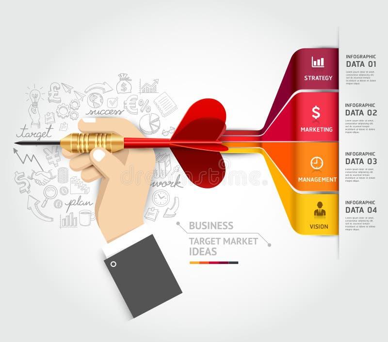 Έννοια μάρκετινγκ επιχειρησιακών στόχων Επιχειρηματίας han απεικόνιση αποθεμάτων