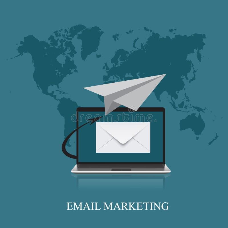 Έννοια μάρκετινγκ ηλεκτρονικού ταχυδρομείου στο επίπεδο σχέδιο, διάνυσμα, απεικόνιση διανυσματική απεικόνιση