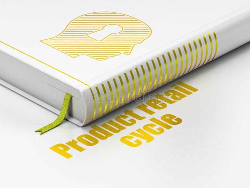 Έννοια μάρκετινγκ: κεφάλι βιβλίων με την κλειδαρότρυπα, λιανικός κύκλος προϊόντων στο άσπρο υπόβαθρο απεικόνιση αποθεμάτων