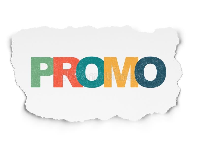Έννοια μάρκετινγκ: Promo στο σχισμένο υπόβαθρο εγγράφου στοκ φωτογραφία με δικαίωμα ελεύθερης χρήσης