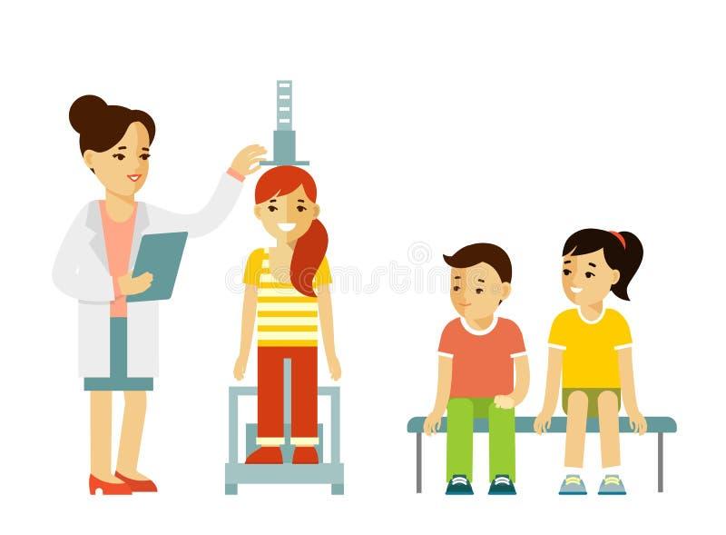 Έννοια μέτρησης ύψους παιδιών ελεύθερη απεικόνιση δικαιώματος