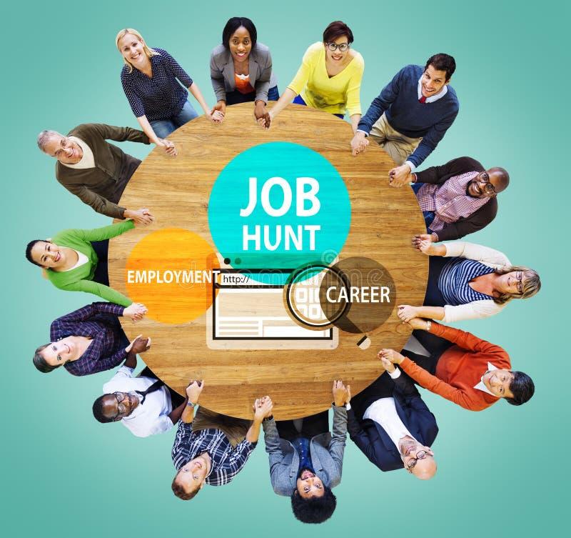 Έννοια μίσθωσης πρόσληψης σταδιοδρομίας απασχόλησης του Κυνηγίου εργασίας στοκ εικόνα