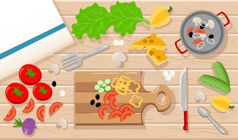 Έννοια μαγειρέματος Απεικόνιση εμβλημάτων Ιστού ή διαφημιστικών υλικών στο επίπεδο ύφος σχεδίου που μαγειρεύει ένα χορτοφάγο γεύμ απεικόνιση αποθεμάτων
