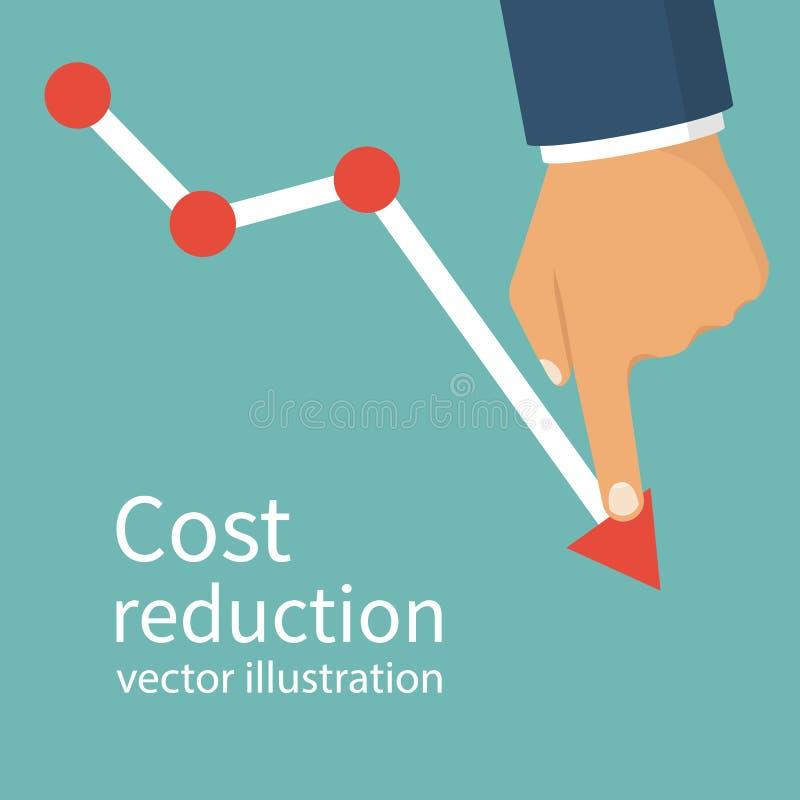 Έννοια μείωσης του κόστους διανυσματική απεικόνιση