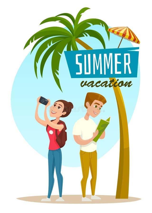 Έννοια με τους τουρίστες και το φοίνικα, αφίσα θερινών διακοπών, διανυσματική απεικόνιση κινούμενων σχεδίων στοκ φωτογραφίες