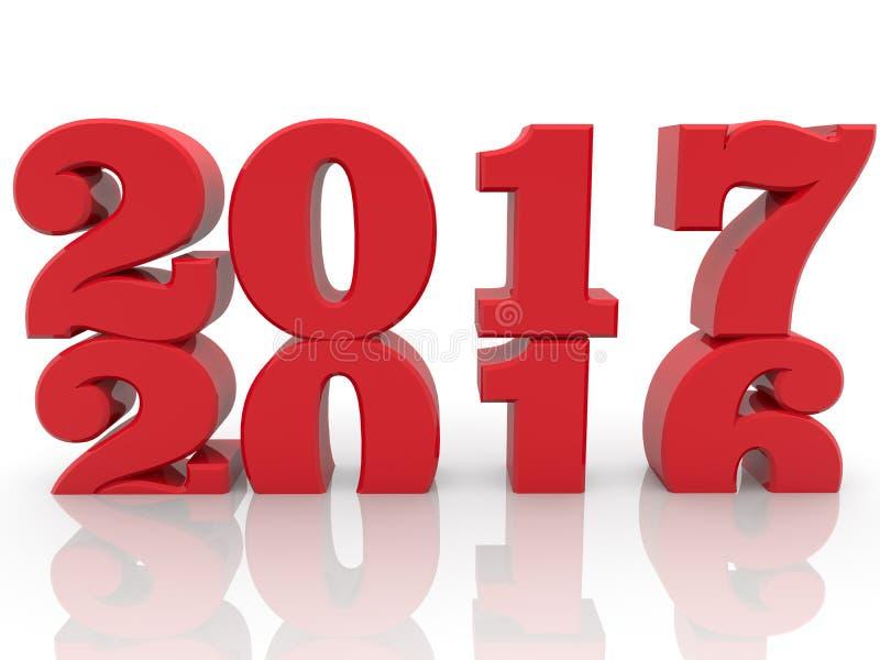 Έννοια με το 2016 και 2017 έτη στο λευκό απεικόνιση αποθεμάτων