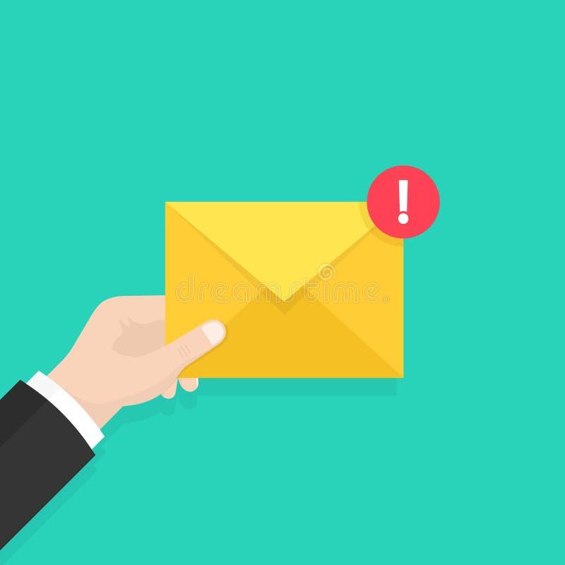 Έννοια μηνυμάτων ηλεκτρονικού ταχυδρομείου Νέο, εισερχόμενο μήνυμα, sms Φάκελος εκμετάλλευσης χεριών, επιστολή Παράδοση των μηνυμ ελεύθερη απεικόνιση δικαιώματος