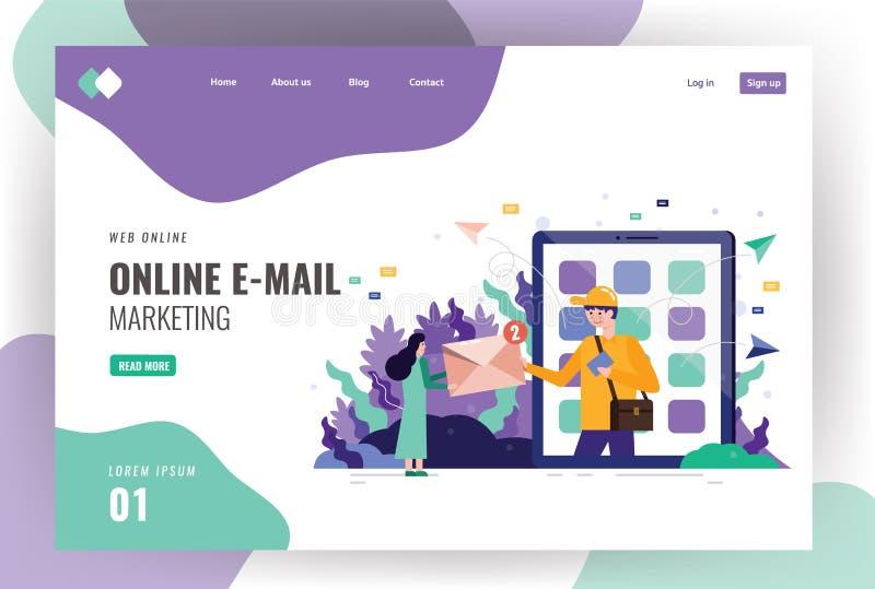 Έννοια μηνυμάτων ηλεκτρονικού ταχυδρομείου ως τμήμα του επιχειρησιακού μάρκετινγκ διανυσματική απεικόνιση