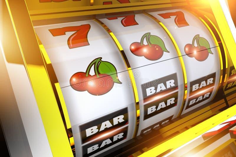Έννοια μηχανημάτων τυχερών παιχνιδιών με κέρματα φρούτων διανυσματική απεικόνιση