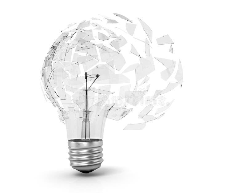 Έννοια μιας ουτοπιστικής ιδέας σπασμένο φως βολβών ελεύθερη απεικόνιση δικαιώματος