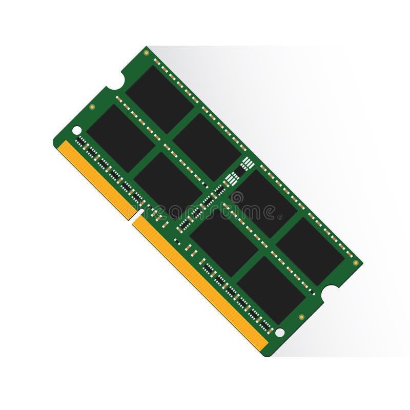 Έννοια μνήμης τυχαίας προσπέλασης από το RAM labtop 4GB ή 8GB ή 16GB διανυσματική απεικόνιση