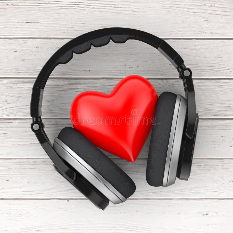 Έννοια μουσικής αγάπης Μαύρα ασύρματα ακουστικά και μια κόκκινη καρδιά 3 ελεύθερη απεικόνιση δικαιώματος