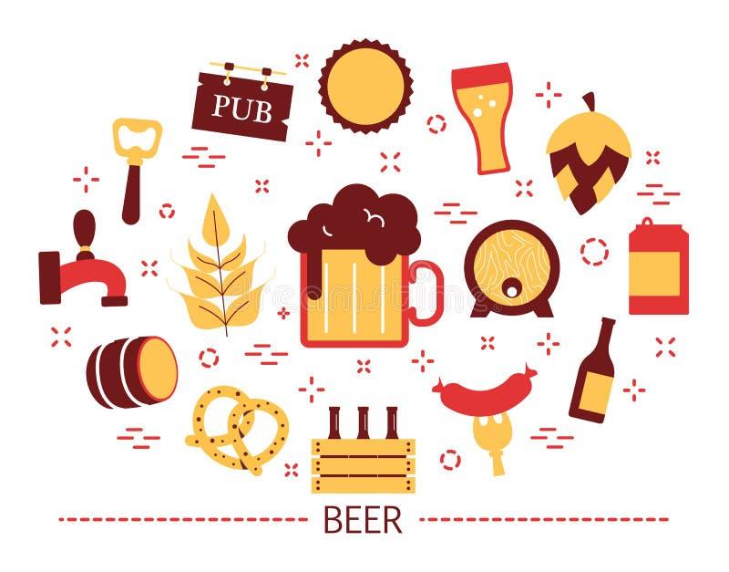 Έννοια μπύρας Μπουκάλι και κούπα γυαλιού με το ποτό οινοπνεύματος ελεύθερη απεικόνιση δικαιώματος