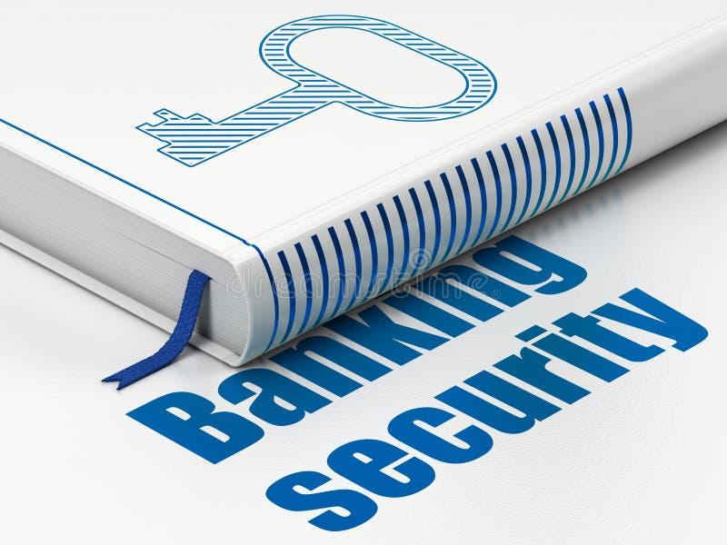 Έννοια μυστικότητας: κλειδί βιβλίων, ασφάλεια κατάθεσης στο άσπρο υπόβαθρο ελεύθερη απεικόνιση δικαιώματος