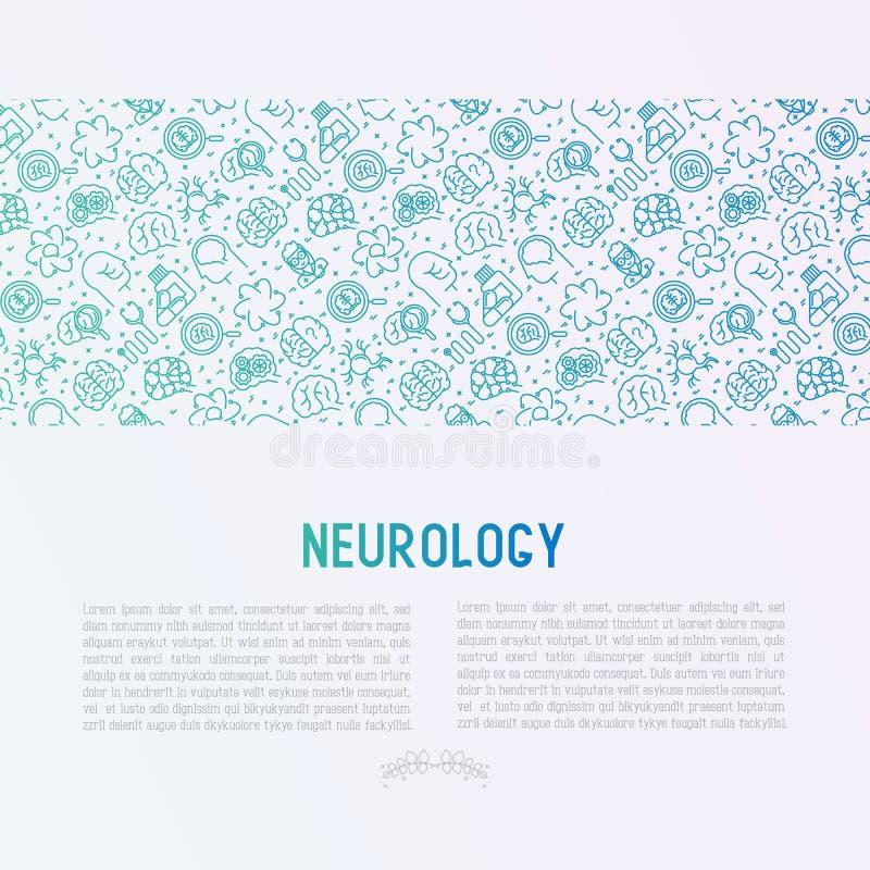 Έννοια νευρολογίας με τα λεπτά εικονίδια γραμμών ελεύθερη απεικόνιση δικαιώματος