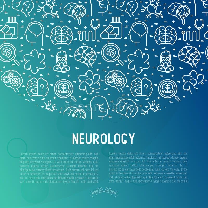 Έννοια νευρολογίας με τα λεπτά εικονίδια γραμμών απεικόνιση αποθεμάτων