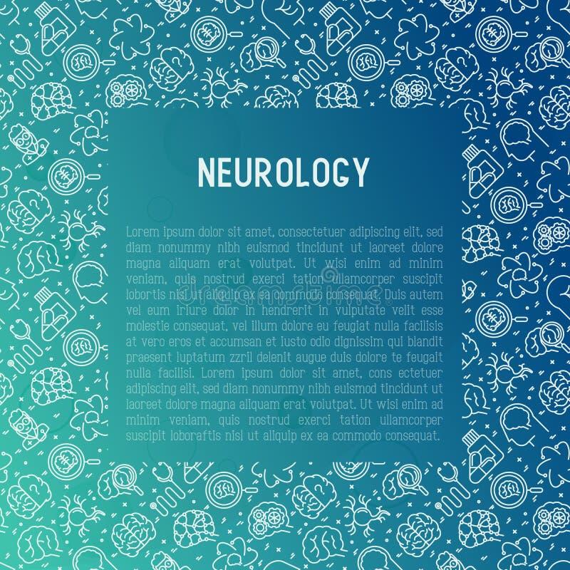 Έννοια νευρολογίας με τα λεπτά εικονίδια γραμμών διανυσματική απεικόνιση