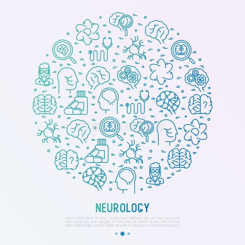 Έννοια νευρολογίας στον κύκλο με τα λεπτά εικονίδια γραμμών ελεύθερη απεικόνιση δικαιώματος