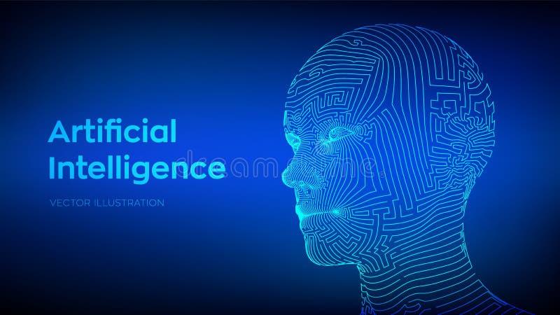 Έννοια νοημοσύνης Artifactial Ψηφιακός εγκέφαλος AI Αφηρημένο ψηφιακό ανθρώπινο πρόσωπο Ανθρώπινο κεφάλι στον ψηφιακό υπολογιστή  διανυσματική απεικόνιση