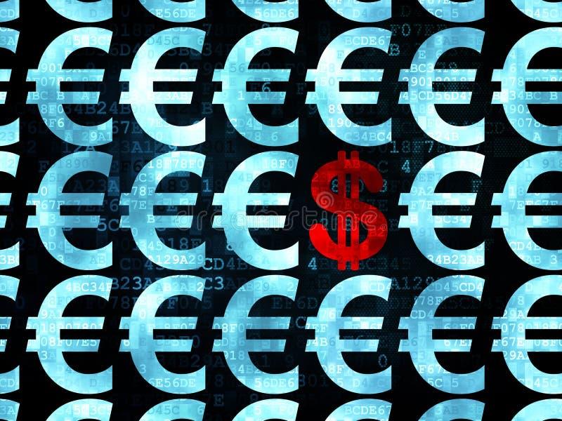Έννοια νομίσματος: εικονίδιο δολαρίων σε ψηφιακό απεικόνιση αποθεμάτων