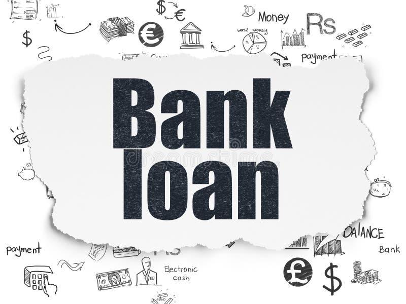 Έννοια νομίσματος: Τραπεζικό δάνειο σε σχισμένο χαρτί διανυσματική απεικόνιση