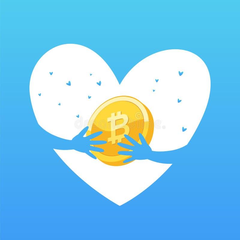 Έννοια νομισμάτων Να εξαγάγει ή blockchain τεχνολογία για το cryptocurrency διανυσματική απεικόνιση