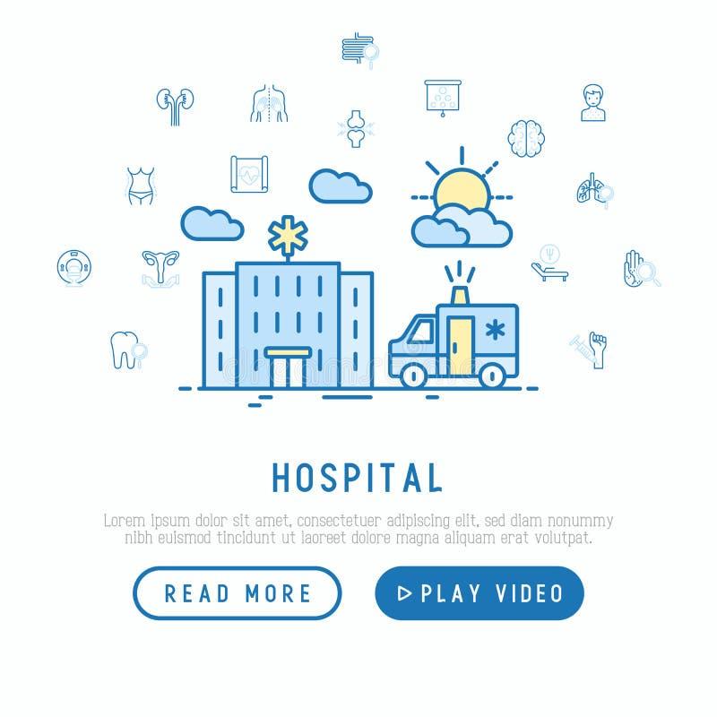 Έννοια νοσοκομείων και ασθενοφόρων ελεύθερη απεικόνιση δικαιώματος