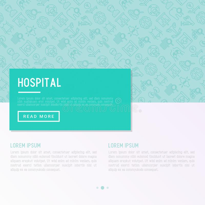 Έννοια νοσοκομείων με τα λεπτά εικονίδια γραμμών διανυσματική απεικόνιση